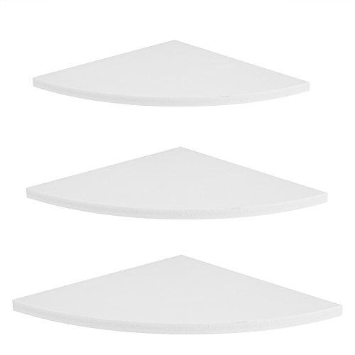 Zerone estantería de esquina pared blanca, 3niveles estantería flotante de esquina de madera para CD DVD libro Bonsai flor