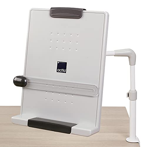 Actto Adjustable 18 Level Angle Desktop Document Book Holder with Clip, Holds Books Papers Photos Notes for School Office Library, Non-slip Designed, Tablet, Adjustable 4D Multi Flex Arm makes 270 angle Distance Direction Height, C-Clamp Holder Saves Desk Space