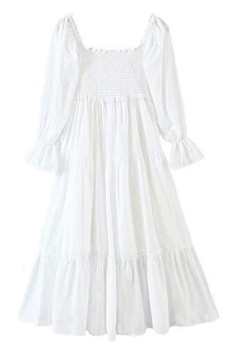 R.Vivimos Women's Summer Cotton Plaid Puff Sleeves Bow...