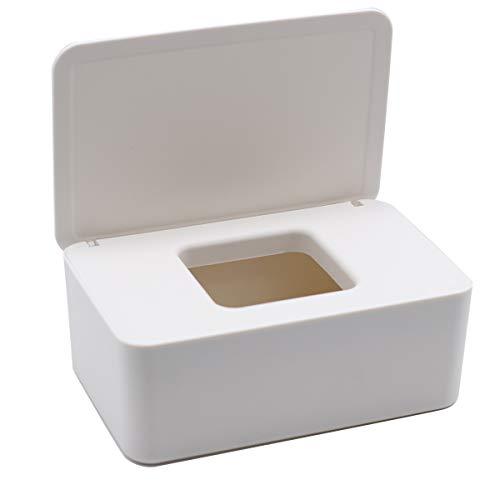 Caja de almacenamiento de toallitas húmedas, soporte para caja de pañuelos a prueba de polvo y buena estanqueidad con tapa,