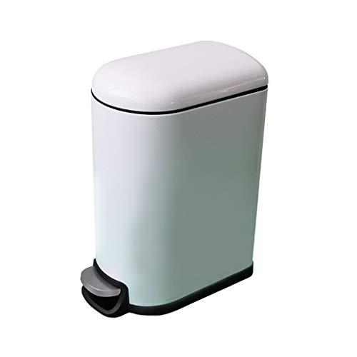 Pedaal Prullenbak Dikke roestvrijstalen verf Home Keuken Badkamer Rust Afdingende overdekte prullenbak (kleur: wit) (Color : White, Size : -)