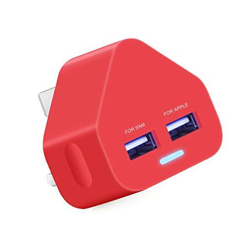 Cargador USB de 3 pines para enchufe británico, cargador de enchufe USB, doble de 2 A, 2000 mAh, de rápida velocidad, universal de viaje, cargador de pared USB