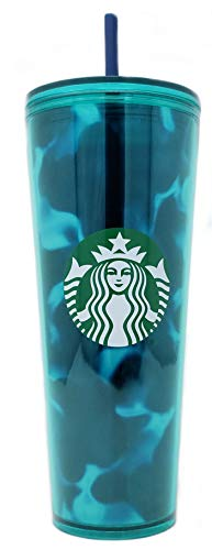 Starbucks Teal Turquoise Green Blue Wave Tumbler Traveler Cold Cup 24oz Venti