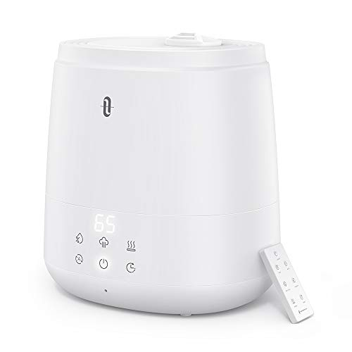 TaoTronics Humidifiers for Bedroom (6L), Warm and Cool Mist Humidifiers For Home (Top Fill Ultrasonic Air Humidifier, Customized Humidity, Remote Control, Sleep Mode, LED Display, Whisper Quiet)