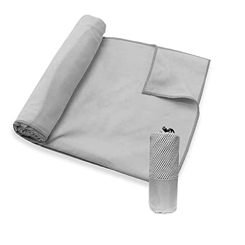 MERCURY TEXTIL - Toallas de Microfibra + Funda de Transporte. Ultra–Ligeras, absorbentes, de Secado rápido – Toalla Gym, Toalla Viaje y Toalla Piscina (60x120cm 1 Toalla, Gris) ⭐
