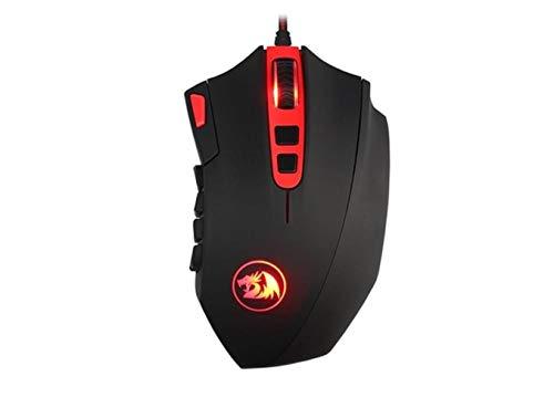 Redragon M901-1Gaming Mouse Haute précision 24000DPI 18 Boutons programmables Big Laser Gamer Souris avec Poids LED rétro-éclairé pour PC, Noir