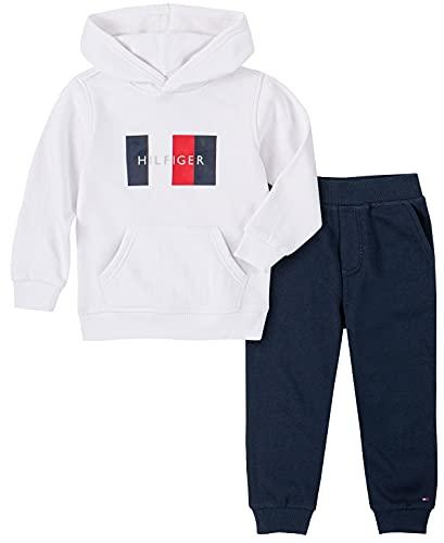 Tommy Hilfiger Boys' 2 Pieces Hooded Jog Set, Bright White/Navy Blazer, 4T