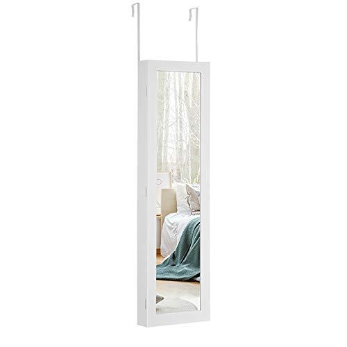 COSTWAY Schmuckschrank mit LED Leuchten, Schmuckregal Tür- und Wandmontage, Schmuckkasten mit Ganzkörperspiegel, Schmuck Spiegelschrank für Ringe, Kettenhaken und Ohrringe, weiß