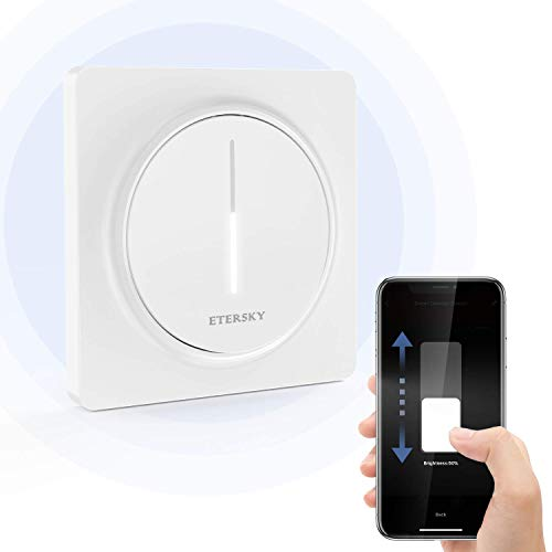 【Nueva Generación】Alexa Interruptor Regulador de luz WiFi, Etersky Smart Dimmer Inteligente de Pared Compatible con Alexa/Google Home, WiFi Interruptor de luz Atenuador, Temporizador NEUTRO REQUERIDO