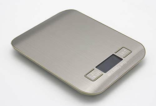 Bilancia digitale da cucina in acciaio inox. Bilancia per alimenti multifunzionale, peso da cucina con LCD retroilluminazione, batterie incluse (Grigio, 18 x 13,5 cm)