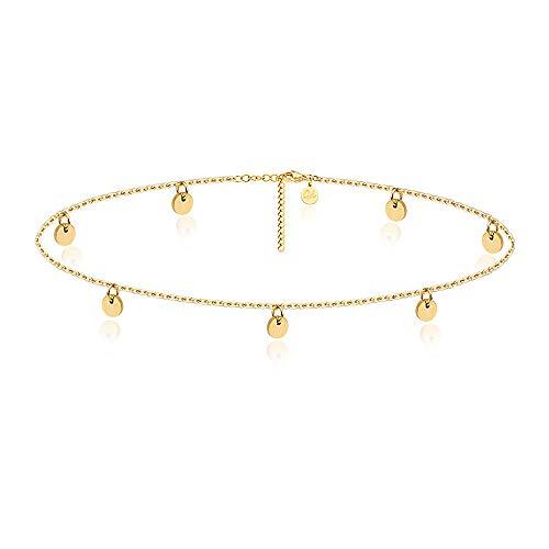 Good.Designs Fußkettchen für Damen I Fußkette mit runden Plättchen I Boho Schmuck (Gold)