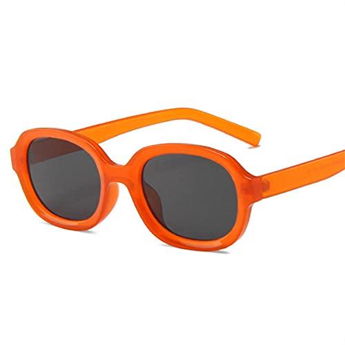 DLSM Gafas de Sol Femeninas Forma cóncava Gafas de Sol Oval Hombre Vintage Negro Amarillo UV400 Gafas de Sol Deportivas, Corriendo, Ciclismo-Naranja