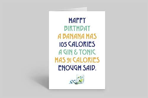 Lustige Geburtstagskarte – Gin-Trinker – weniger Kalorien