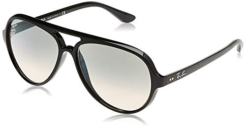 Ray-Ban RB4125 Cats 5000 Aviator Sunglasses, Black/Grey Gradient, 59 mm