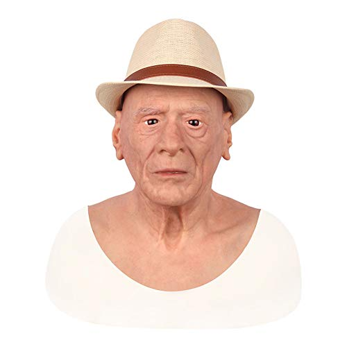 QHYAH Realistic Old Man Silicone Mask Realistic Western Male Face Full Overhead Silicone Human Full Headwear para Crossdresser Cosplay Disfraz,Tan