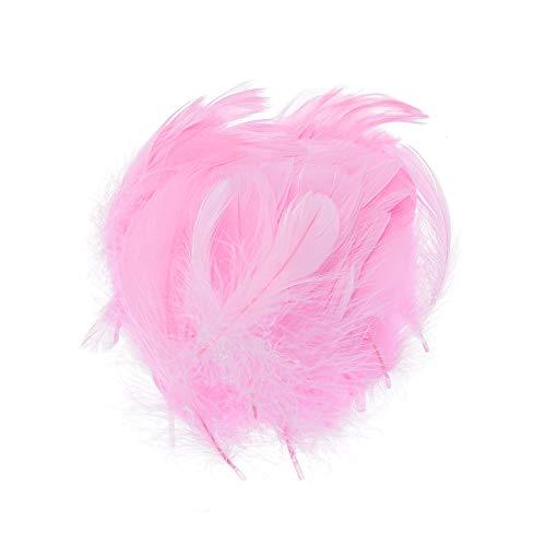 Tianayer 100 Piezas Coloridas Plumas de Ganso Fiesta de la Boda decoración de la joyería Inicio Plumas de Bricolaje Manualidades Artículos de Pelo Plumas (Rosa)