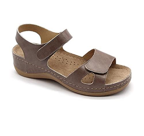 LEON 935 Sandalias Zuecos Mules Zapatillas Zapatos de Cuero, Mujer, Gris, EU 37