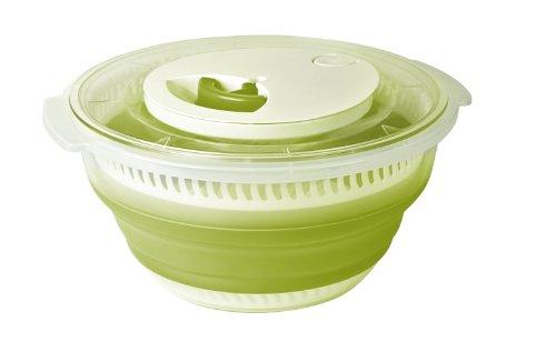 Emsa Basic Centrifuga Pieghevole Insalata, 4 l, in Plastica/Silicone, Trasparente/Verde