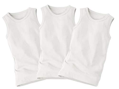 Bio Kinder Unterhemd 100% Bio-Baumwolle (kbA) GOTS zertifiziert, 3er Set, Weiß, 98/104