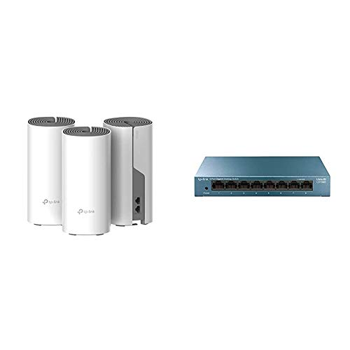 TP-LINK AC1200 Deco - Repetidor de WiFi, Super Mesh, sin Interrupción Dual-Band hasta 350m² + LS108G - Switch 8 Puertos (10/100/1000) Switch ethernet, Switch gigabit
