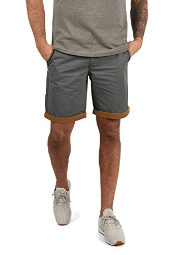 Blend Neji Herren Chino Shorts Bermuda Kurze Hose Mit Gürtel Aus 100% Baumwolle Regular Fit, Größe:L, Farbe:Granite (70147)