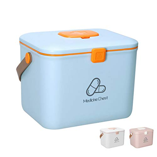 SHANG EHBO-doos, dubbellaagse kunststof koffer van kunststof, voor het opbergen van medicijnen met draagbaar pillendoosje