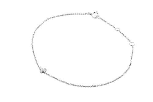 Miore Armband - Armreif Damen Kette Weißgold 9 Karat / 375 Gold Diamant Brillianten 0.04 ct 19 cm