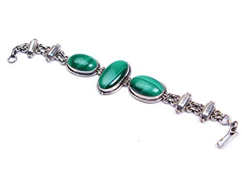 Pulsera de plata de ley 925   Pulsera de cadena y eslabón   Hermosa pulsera de malaquita   Piedra preciosa ovalada verde   Tamaño 7.5-8 pulgadas
