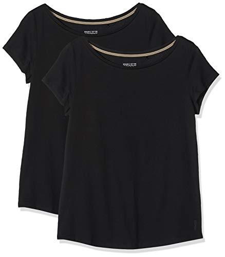 ESPRIT Damen 999EE1N801 T-Shirt, Schwarz (Black 001), Small (Herstellergröße: S) (2er Pack)