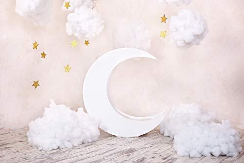 WaW Gemütliche Szene Wolken Sterne Beige Hintergr& Fotografie Baby Newborn Kinder Stoff Fotoshooting Hintergr& 1. Geburtstag Dekoration Requisiten