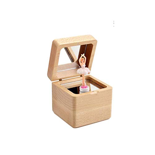 BAWAQAF Caja de música,Caja de música de madera,Ballet Spinning Dancing Girl Music Box,Mano-manivela reloj Driven Music Gramophone, caja de música de regalo