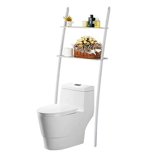 Toilettenregal Waschmaschinenregal platzsparendes Badregal aus Bambus, Bad WC Regal Lagerregal mit 2 Ablagen -173x66x25 cm