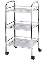 WENKO Exclusive household and bathroom trolley - mobile bathroom rack, 3 shelves, Steel, 41 x 75 x 32 cm, Chrome