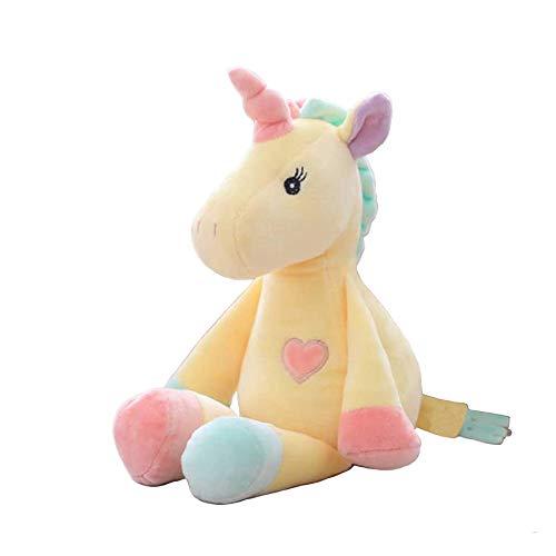 Georgie Porgy Niñito Mullido Juguete de Peluche Mentira Unicornio Juguete Suave Regalo de cumpleaños para niños (Amarillo)