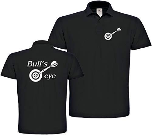Herren Polo-Shirt Dart Bull`s Eye XS bis 4XL (Schwarz, 2XL)