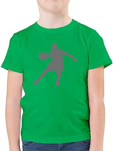 Sport Kind - Basketballspieler - 164 (14/15 Jahre) - Grün - F130K - Kinder Tshirts und T-Shirt für Jungen