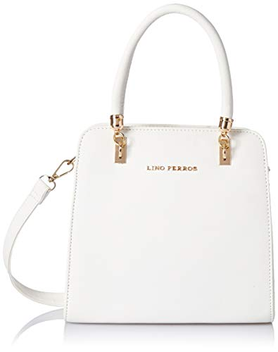 Lino Perros Women's Artificial Leather Red Satchel Bag (WHITE)