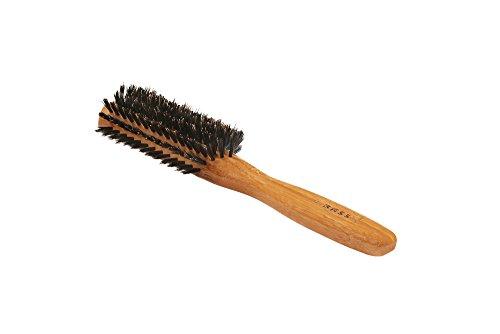 Bass Brushes | Shine & Condition Hair Brush | 100% Premium Natural Bristle FIRM | Pure Bamboo Handle | Classic Half Round Style | Dark Finish | Model 206 - DB