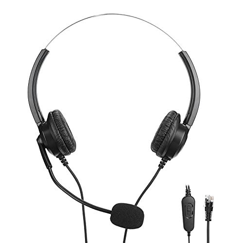 Xndz Auriculares con micrófono y Control de Audio, Auriculares telefónicos con Control de Audio equipados con Almohadillas de Cuero Artificial de proteína Suave para Oficina para el hogar