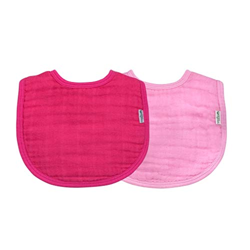green sprouts Muslin Bibs made from Organic Cotton (2pk)-Pink Set-0/12mo