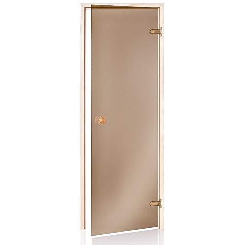 Saunatür Eco 80x190   Glasfarbe: Bronze   Rahmen: Espe