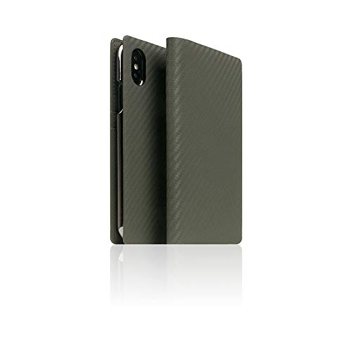 SLG iPhone Xs Max Leather Wallet Case, D+ Italian Carbon Leather Diary Flip Cover Card Slot Holder with Gift Box, Handmade and Designed for Apple iPhone Xs Max (Khaki)