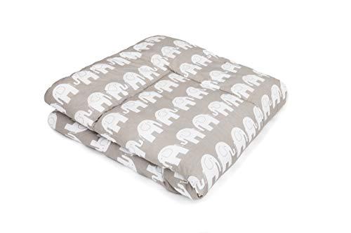 SWADDYL ® Baby Krabbeldecke Elefant Grau - Kuscheldecke, Spieldecke, Laufgittereinlage 100x100 groß gepolstert (100x100)