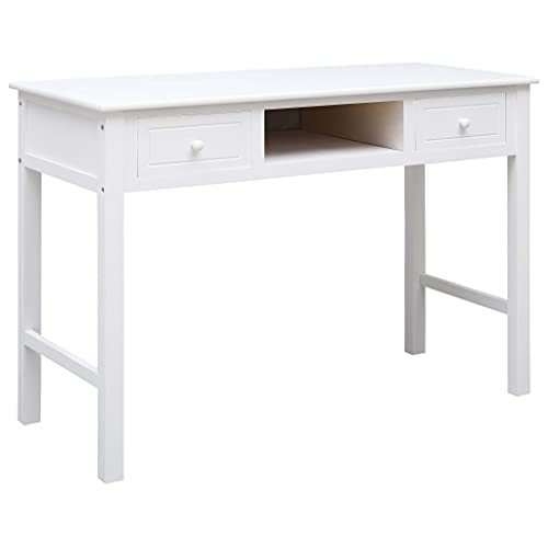 SHUJUNKAIN Escritorio de Madera Blanco 110x45x76 cm Mobiliario Mobiliario de Oficina Escritorios Blanco