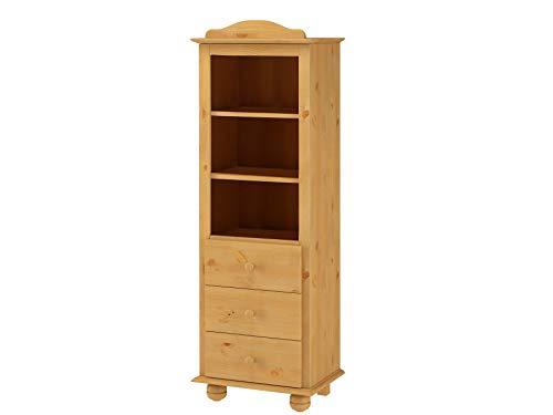 Loft24 Bücherregal Bücherschrank Regal 3 Schubladen Regalschrank Wohnzimmer Landhaus Kiefer massiv gebeizt geölt Aktenregal Ordnerregal 6 Fächer