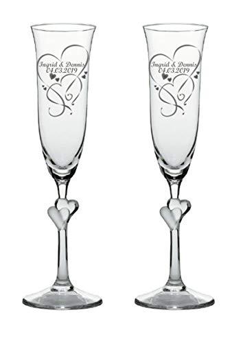 Sekt-Champagner-Gläser, Sektkelche L'Amour, graviert, 2er Set personalisiert-e Gravur, satinierte Herzen, ein persönliches Geschenk zur Hochzeit, Jahrestag, Valentinstag