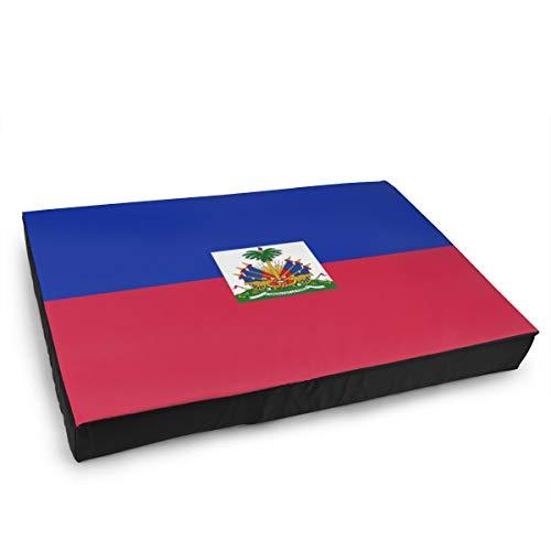 Jacklee Hond Kat Bed met Orthopedisch Schuim en Wasbaar Anti-slip Cover, Haiti Vlag