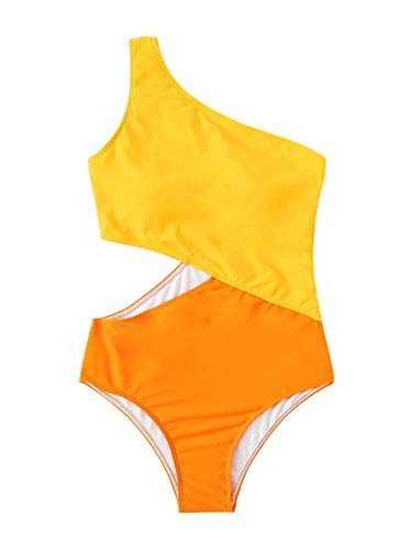 SweatyRocks Women's Bathing Suits One Shoulder Cutout One Piece Swimsuit Swimwear Monokini Orange Medium