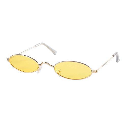 Gafas Opacas Gafas de Sol ovaladas Gafas de Sol de Mujer de Estilo Vintage, Gafas de Sol Vintage, Gafas de Lentes(Gold Frame Transparent Yellow)