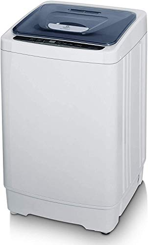 MOOSOO Full-Automatic Washing Machine 1.38 Cu.ft/10 lbs Portable Compact Washing Machine with Drain Pump,24h Smart Delay, 8 Programs 3 Water Levels, Laundry Washer for Apartment, Dorm, RV and Camping